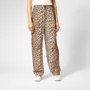 Ganni Women's Mullin Georgette Trousers - Leopard