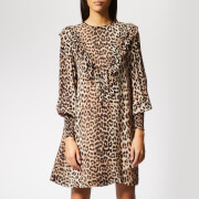 Ganni Women's Mullin Georgette Mini Dress - Leopard