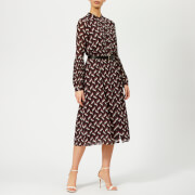 MICHAEL MICHAEL KORS Women's Midi Dress with Belt - Cordovan