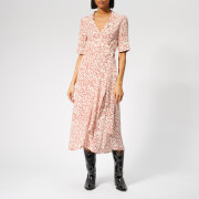 Ganni Women's Goldstone Crepe Wrap Dress - Egret