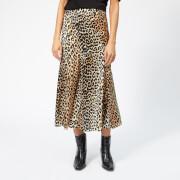 Ganni Women's Blakely Silk Skirt - Leopard
