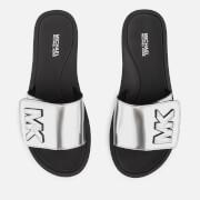 MICHAEL MICHAEL KORS Women's MK Slide Sandals - Silver