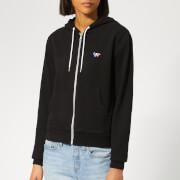 Maison Kitsuné Women's Tricolor Fox Patch Zip Hoody - Black