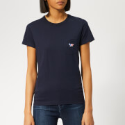 Maison Kitsuné Women's T-Shirt Tricolor Fox Patch - Navy