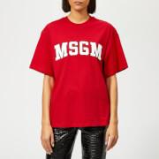 MSGM Women's College Logo T-Shirt - Red