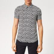 Emporio Armani Men's All Over Print Short Sleeve Shirt - Fant Blue