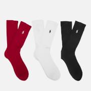 Polo Ralph Lauren Men's 3 Pack Socks - Red/Black/White