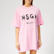 MSGM Women's Graffitti Logo T-Shirt Dress - Pink