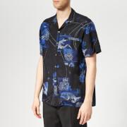 Lanvin Men's Open Collar Bowling Shirt - Blue