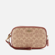 Coach Women's Colorblock Coated Canvas Signature Cross Body Bag Clutch - Tan Rust