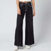Ganni Women's Classic Wide Leg Denim Jeans - Washed Black