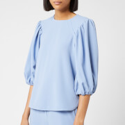 Ganni Women's Heavy Crepe Top - Forever Blue
