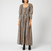 Ganni Women's Cotton Silk Dress - Leopard