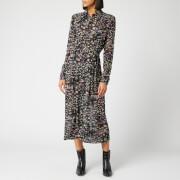 Ganni Women's Printed Georgette Dress - Black