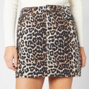 Ganni Women's Print Denim Skirt - Leopard