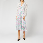 RIXO Women's Melanie Dress - Polka Dot Italian Floral/Pink Teal