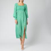 RIXO Women's Marianne Dress - Retro Micro Floral/Green Blue