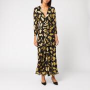 RIXO Women's Rose Gold Silk Lame Maxi Dress - Palm