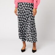 RIXO Women's Kelly 1930s Micro Floral Midi Skirt - Black