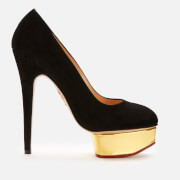 Charlotte Olympia Women's Dolly Suede Platform Court Shoes - Black
