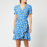 Diane von Furstenberg Women's Emilia Dress - Ditsy Vines Baja Blue