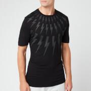 Neil Barrett Men's Fairisle Thunderbolt T-Shirt - Black/White