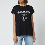Balmain Women's Flocked Logo T-Shirt - Black
