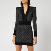 Balmain Women's V Neck Diamond Dress - Black