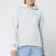 Champion Women's Small Script Hooded Sweatshirt - Grey Marl
