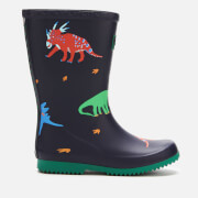 Joules Kids' Printed Roll up Packable Wellies - Dark Blue Dinos