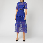 Self-Portrait Women's Short Sleeve Geometric Lace Midi Dress - Cobalt Blue