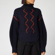 Self-Portrait Women's Knit and Lace Trim Jumper - Navy