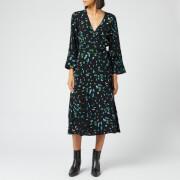 Ganni Women's Printed Crepe Wrap Dress - Verdant Green