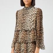 Ganni Women's Pleated Georgette Top - Leopard