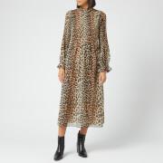 Ganni Women's Pleated Georgette Dress - Leopard