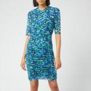 Ganni Women's Printed Mesh Dress - Azure Blue