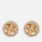 Tory Burch Women's Pave Logo Circle-Stud Earrings - Tory Gold