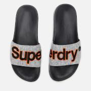 Superdry Men's Classic Embroidered Pool Slide Sandals - Grey Grit