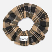 Ganni Women's Seersucker Check Scrunchie - Tiger's Eye