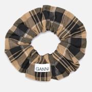 Ganni Women's Seersucker Check Scrunchie - Tiger's Eye