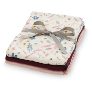 Cam Cam Muslin Cloth - Pressed Leaves Rose, Bordeaux, Blossom Pink (Pack of 3)