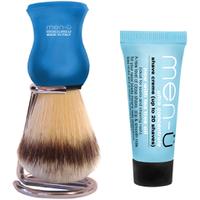 Men-üDB Premier Shave Brush avec Support en Chrome- Bleu