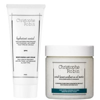 Christophe Robin Cleansing Purifying Sea Salt Scrub (250 ml) og Moisturizing Hair Cream (100 ml)