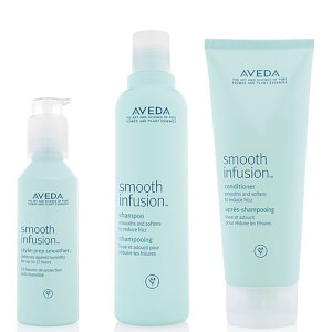 Aveda Smooth Infusion Trio- Shampoo, Conditioner & Style Prep Smoother -shampoo, hoitoaine ja Style Prep Smoother