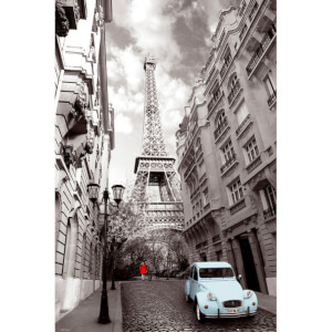 Paris Red Girl Blue Car - Maxi Poster - 61 x 91.5cm