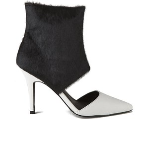 Sol Sana Women's Tylar Pony Hair Cuff Leather Cut Out Boots - Black/White