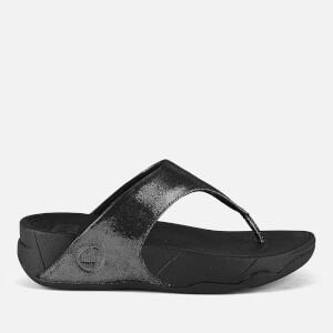 FitFlop Women's Lulu Shimmersude Toe Post Sandals - Black