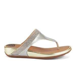 FitFlop Women's Banda Micro-Crystal Leather Toe Post Sandals - Pale Gold