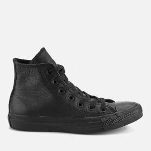 Converse Unisex Chuck Taylor All Star Leather Hi-Top Trainers - Black Monochrome