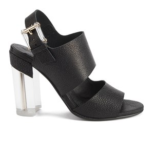Miista Women's Carlynn Perspex Heeled Leather Sandals - Black Stingray
